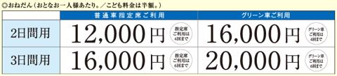 2日間用12000円、3日間用16000円