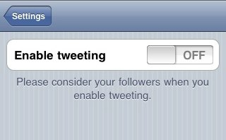 Please consider your followers when you enable tweeting.